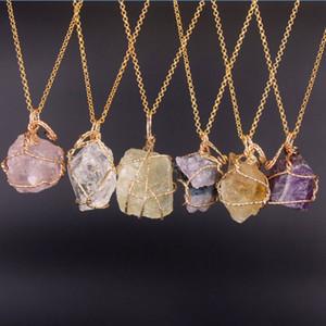 Venta caliente Nuevo Cuarzo de Cristal Natural Punto Curativo Chakra Grano Collar de Piedras Preciosas colgante de joyería de estilo de piedra natural original