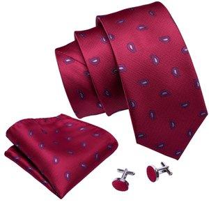 Cherry Reds paisley Cravatte di seta con fazzoletto e cravatta polsini 8,5 centimetri business caldo all'ingrosso N-5027