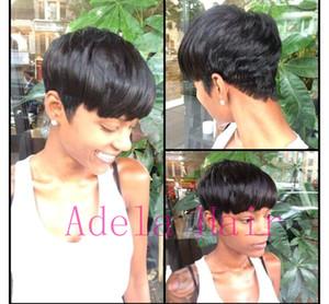Pas cher court humain naturel brésilien cheveux perruque sans colle pour les femmes noires