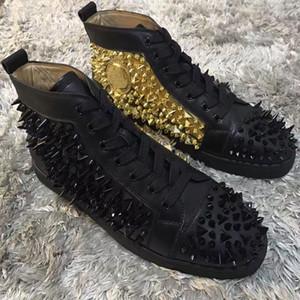 T-kaliteli Pik Pik Perçinler Hakiki Deri Kırmızı Alt Sneakers Ayakkabı Erkekler Spike Sneaker Lüks Kadın Çiviler Eğlence Parti Elbise Düğün