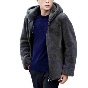 Новое прибытие теплая зима куртки мужчины искусственного меха пальто Icebear с капюшоном кожаные куртки молния куртка мужской шуба perfecto homme
