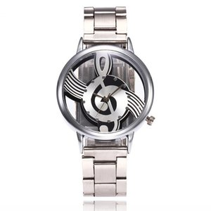 2018 New  Fashion Hollow Music Note Notation Watch Stainless Steel Quartz Wrist Watch For Men Women Silver Mesh Watches