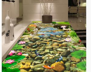 Фото любой размер поток Золотая рыбка Лотос 3D живопись водонепроницаемый самоклеящиеся украшения дома