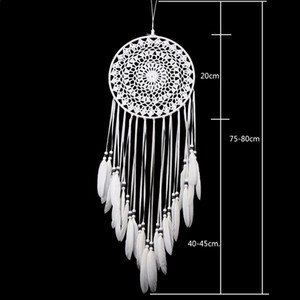 New Handmade Lace Dream Catcher Circular com penas tapeçaria decoração do ornamento Craft Gift Crocheted Branca Dreamcatcher Wind Chimes