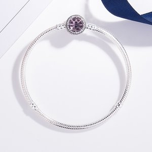 Pink 925 Sterling Bracelet CZ Women's Classic Round Clasp Silver Pan Genuine With Jewelry Nsaij