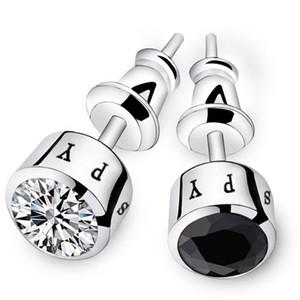 Copper plated earrings men single Japanese and Korean personalized diamond simple tide male earrings fashion earrings
