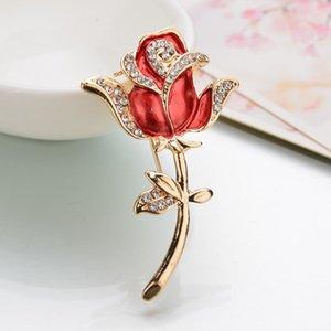 Rose Flower Crystal Brooches For Women Classic Leaf Jewelry Rojo / Blanco / Púrpura Bijoux Día de la Madre Regalos Wedding Wedding Bridal