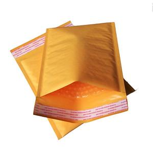 Atacado-Muitos tamanhos 50pcs Pequeno Kraft Bubble Mailers Acolchoado Envelopes Bolha Sacos De Papel Envelope Saco De Correio Amarelo Bolha