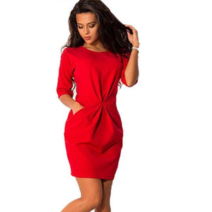 YENI Moda Kadınlar O-Boyun Yarım Kollu Silm Elbise Bodycon Ofis Elbise Sonbahar Kırmızı Mavi Parti Mini Elbise Artı Boyutu LJ7215E