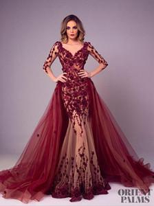 Tony Chaaya 2018 Abiti da sera con scollo staccabile Borgogna Pizzo Applique Prom Dresses a sirena Plus Size Manica lunga Luxury Party Dress