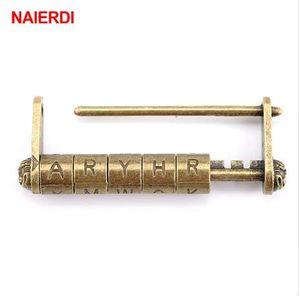 NAIERDI alliage de zinc antique bronze rétro serrure à combinaison 5 lettres mot de passe serrure boîte à bijoux cadenas pour tiroir en bois valise