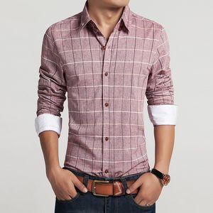 Camisas de talla grande 8 Spring Casual Men Shirt Camisa de vestir de algodón de lino para hombre Camisa a cuadros de corte ajustado Camisas de manga larga Talla asiática