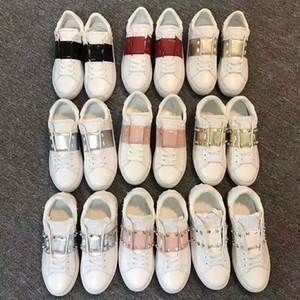 Designer Marca New Women dos homens de couro branco com as sapatilhas faixa de cor com baixa acima da menina rivert cusual mocassins calçados da escola Luxo 34-44