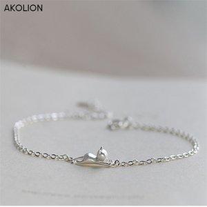 Akolion prata cat encantos animais cadeia pulseira ajustável 925 jóias esterlinas para meninas mulheres presente de natal
