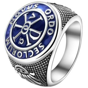 2018 New Male and Female Copper Platinum Ring with Freemasonic Pattern;A Blue domineering ring; Size 6-13