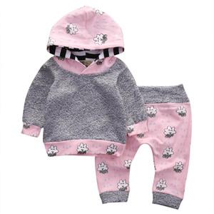 Pink Newborn Baby Girl Clothes Cute Smile Cloud Bebes Hooded Top Pant 2 unids Otoño Invierno Traje Bebek Giyim conjunto de ropa