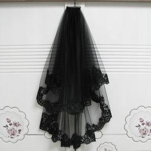 2018 novedad única impresionante encaje lateral negro seda doble capa velo de novia velo de novia halloween bruja tocado tul velo velo cato