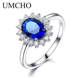 UMCHO Luxo Azul Safira 6 * 8mm Princesa Diana Anéis Genuine 925 Sterling Silver Anéis De Noivado Para As Mulheres Da Jóia Do Casamento S18101001