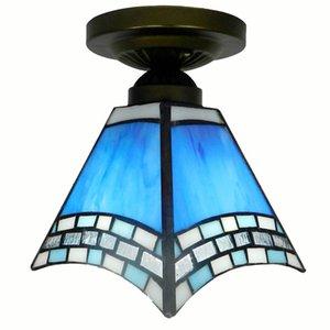 Corredor de vidro azul do Mediterrâneo lâmpada do teto Varanda Vintage de vidro luzes de teto Tiffany Corredor Quarto de teto Luminárias de iluminação