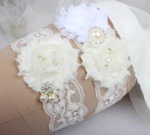 Свадебные подвязки для невесты свадебные подвязки из слоновой кости ноги пояс набор кружева стразы кристаллы плюс размер шифон цветы ручной работы на складе