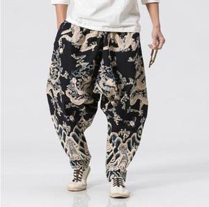 Calças de basculador chinês preto calças de dragão plus size masculina grande virilha harém solto pant