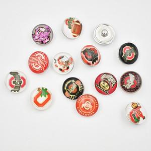 Ohio State boutons pression 18MM rond en verre College Sports d'équipe Charms d'accrochage de haute qualité snap Accessoires Pour Collier Bracelet Boucle d'oreille