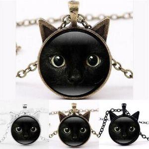 Araba Yüz Çerçeve Siyah Kedi Cam Cabochon Kolye Zaman Taş Kolye Takı Moda Hediye Çocuklar için Hediyeler 20 adet