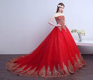 robe de mariage 2018 New Ball Gown Lace Tulle Abito da sposa rosso con coda stile cinese modello a buon mercato Cina ricamo principessa abito da sposa