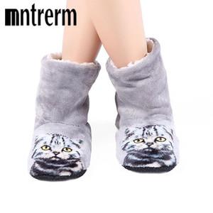 Mujeres de la marca Cute 3D Cat zapatillas de playa gruesas cálidas zapatillas de invierno Zapatos Mujer Home interior felpa plana con zapatos