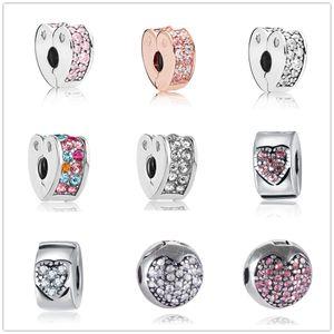 Livraison gratuite MOQ 20 pcs argent rose ruban coeur clip de sécurité bricolage bijoux perle Fit Pandora Charm Bracelet D040