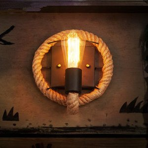 Vintage Hemp Rope LED Wall Lamp Industrial Retro Iron Redondo Oval Shape Wall Light Home Características Aplique para Balcón Restaurante