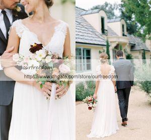 2019 Bohemian Style Lace Backless Wedding Dresses A Line V Neck Chiffon Beach Garden Bridal Gown Custom Made Hot Sale Cheap