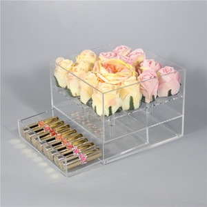 Yeni Şeffaf Akrilik Çekmece Makyaj Organizatör Ile Gül Çiçek Kutusu sevgililer Günü Düğün Hediye Çiçek Çekmece Kutusu Kapak Ile Toptan
