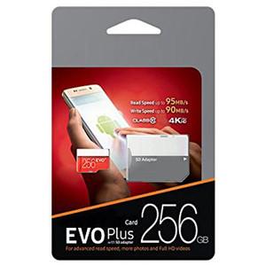 Sınıf 10 Siyah EVO ARTı + 95 MB / s 64 GB 128 GB 256 GB Flash Bellek TF Kart için Galaxy S3 S4 S5 Not Mini Tab Tablet DHL ücretsiz kargo