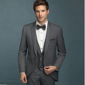 Grigio Scuro Wedding vestiti degli uomini smoking dello sposo Slim Fit Sposo Suits 3 Pezzi (Jacket + Pants + Vest) Best Man Prom Wear Blazer