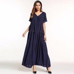 Siskakia V Pescoço drapeado beading projeto vestido de verão mulheres maxi vestido longo sólido patchwork vestidos casuais stringy selvedge Azul
