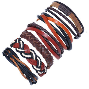 Vintage Genuine Leather Bracelets For Women 6pcs set Multi-layer Weave Rope Wrap Bracelets & Bangle Men Jewelry Drop Shipping