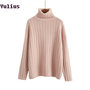Soft  Hair Knitted Pullover Solid color Stripes Loose Turtleneck Women Sweater 2018 Winter New Fashion Warm Pullovers