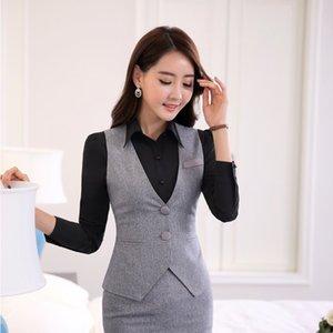 Весна осень мода женщины жилет Жилет серый женский элегантный дамы офис равномерное стили пр рабочая одежда