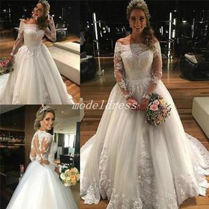 Manches longues robes de mariée 2020 Off épaule balayage train Illusion Perles Appliques Corsage chapelle Garden Robes de mariée Robe de Novia