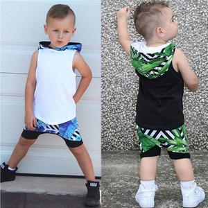 Летний мальчик одежда без рукавов с капюшоном + шорты брюки 2 шт. Мальчики наряда наборных костюмов 2018 детская одежда для мальчиков детская одежда 1-6Y