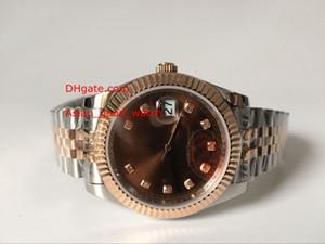 남자 고품질 시계 41MM 26331 브라운 다이아몬드 땡 다이얼 사파이어 두 톤 골드 팔찌 자동 남자 시계 시계