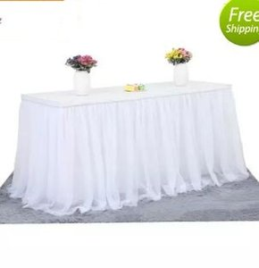 결혼식을위한 Tulle Table Skirt Cloth