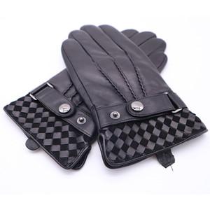 2018 мужские зимние перчатки из натуральной кожи мужчины пряжки плюшевые теплые тепловые перчатки сенсорный экран вождения черные варежки AGB670