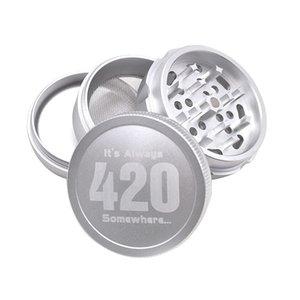 Aviones de Aleación de Aluminio Grinder 420 Logo Herb Grinder 63mm 4 Capas Negro / Oro / Plata Molinillos de hierbas Envío gratis DHL