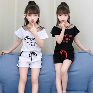 여자 아기 의류 세트 유모차 2018 최신 귀여운 여름 아이 여자 면화 거즈 어깨 짧은 소매 티셔츠 + 짧은 바지 2 개 세트 2Colors