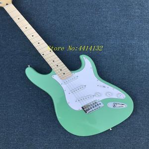 Venda quente Direto Da Fábrica st guitarra elétrica surf verde real fotos de guitarra 22 trastes maple Fingerboard Atacado frete grátis