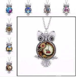 Vintage Argent Punk Owl Frame Time Gem Colliers Owl Verre Cabochon Collier Owl Pendentifs Chaîne De Mode Bijoux pour Femmes Enfants