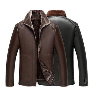 탑 망 가죽 자켓 코트 겨울 가짜 모피 목 둘레를 조정 Pu 가죽 자켓 Parka 남성 자켓 Slim Fur Jackets Coats 4XL