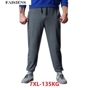 FAISIENS Plus Size Sommer Männer Hosen 6XL 7XL Workout Elastische Taille Jogginghose beiläufige lose graue Falten Mode Hosen Sportswear